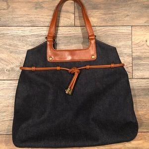 Ralph Lauren denim and leather handbag